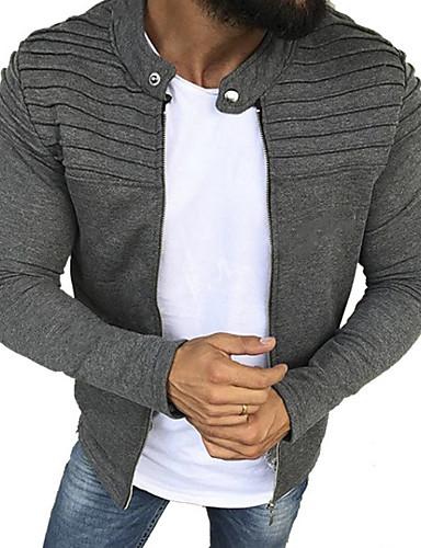 preiswerte Herrenjacken-Herrn Alltag Standard Jacke, Solide Rundhalsausschnitt Langarm Polyester Schwarz / Grau