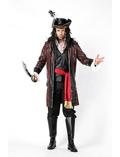 preiswerte Herrenbekleidung-Piraten der Karibik Cosplay Kostüme Austattungen Maskerade Erwachsene Herrn Cosplay Halloween Halloween Fest / Feiertage Baumwolle Polyester Braun Herrn Karneval Kostüme