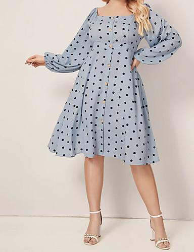 levne Šaty velkých velikostí-Dámské Vintage Elegantní Pouzdro Šaty - Puntíky Midi