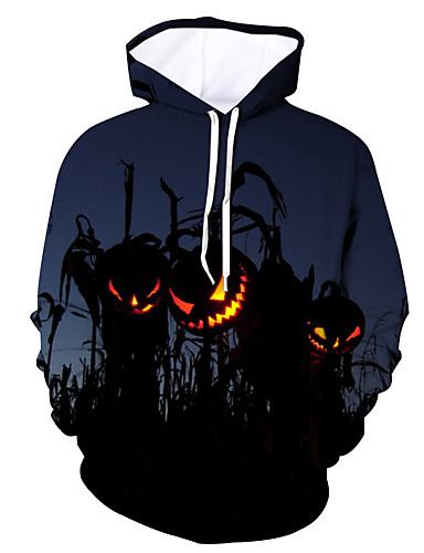 cheap Happy Halloween-Men's Active / Halloween Hoodie - Color Block Blue US32 / UK32 / EU40
