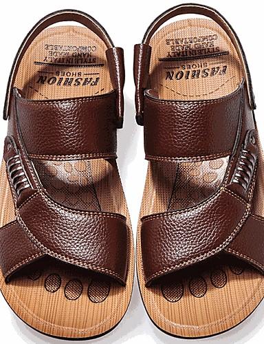 cheap Men's Shoes Hot Sale-Men's Comfort Shoes Summer Casual Daily Sandals Walking Shoes Leather Breathable Black / Yellow / Brown / Rivet