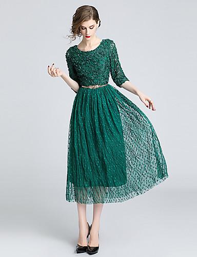 voordelige Maxi-jurken-Dames Elegant A-lijn Jurk - Polka dot, Kant Geborduurd Maxi Wit