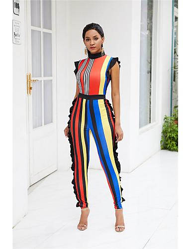 billige Jumpsuits og sparkebukser til damer-Dame Grunnleggende Gul Blå Kjeledresser, Stripet / Fargeblokk Drapering S M L
