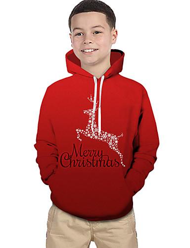 preiswerte Baby & Kinder-Kinder Baby Jungen Aktiv Grundlegend Weihnachtsmann Geometrisch Druck 3D Druck Langarm Kapuzenpullover Rote