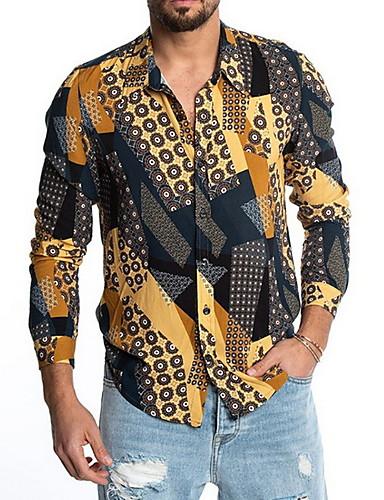Homens Camisa Social Básico Estampado, Geométrica Amarelo