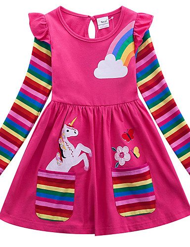 cheap Unicorn Dresses-Kids Girls' Active Unicorn Geometric Animal Print Long Sleeve Above Knee Dress Blue