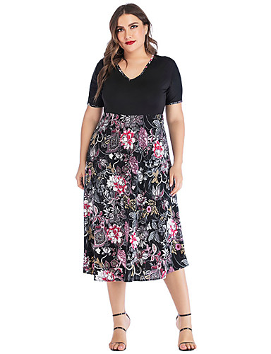 voordelige Grote maten jurken-Dames Standaard A-lijn Jurk - Bloemen, Patchwork Print Midi