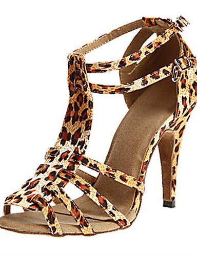 billige Shoes & Bags Must-have-Dame Dansesko Sateng Sko til latindans Tvinning Høye hæler Slim High Heel Kan spesialtilpasses Svart / Lilla / Leopard / Ytelse