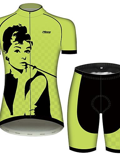 povoljno Odjeća za vožnju biciklom-21Grams Audrey Hepburn Žene Kratkih rukava Biciklistička majica s kratkim hlačama - Crna / Green Bicikl Sportska odijela Prozračnost Ovlaživanje Quick dry Sportski 100% poliester Brdski biciklizam