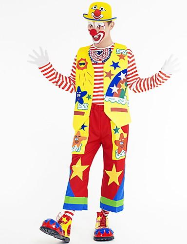 preiswerte Spielzeug & Hobby Artikel-Burleske Clown Cosplay Kostüme Erwachsene Herrn Halloween Festival Halloween Fest / Feiertage Terylen Grün / Gelb / Rote Herrn Damen Karneval Kostüme Geometrisch
