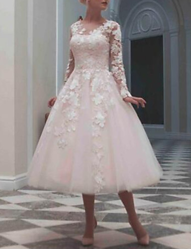 cheap Wedding Dresses-Ball Gown Jewel Neck Tea Length Lace / Tulle Long Sleeve Casual / Vintage Little White Dress / See-Through / Cute Wedding Dresses with Beading / Appliques 2020