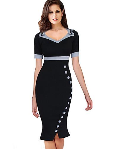 levne Pracovní šaty-Dámské Sofistikované Elegantní Bodycon Pouzdro Mořská panna Šaty - Jednobarevné Puntíky, Mašle Volány Šňůrky Délka ke kolenům Černá a Bílá