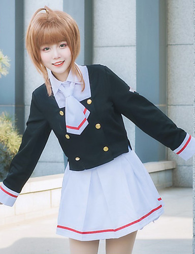 povoljno Anime cosplay-Inspirirana Cardcaptor Sakura školarke Anime Cosplay nošnje Japanski Cosplay Suits / Cosplay Tops / Bottoms / School Uniforms Kaput / Shirt / Suknja Za Žene