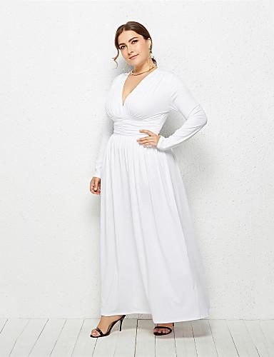 levne Šaty velkých velikostí-Dámské Elegantní Shift Šaty - Jednobarevné Asymetrické