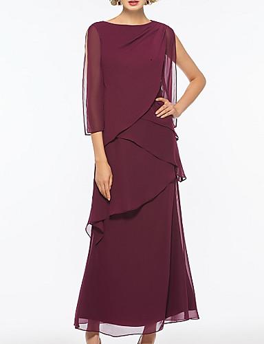 voordelige Wrap Dresses-A-lijn Bateau Neck Tot de enkel Chiffon Bruidsmoederjurken met Lagen door LAN TING Express