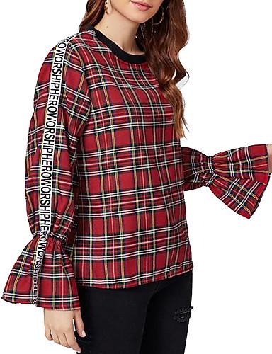 billige T-skjorter til damer-T-skjorte Dame - Geometrisk / Rutet Grunnleggende / Elegant Rød