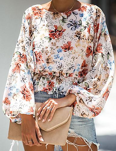 billige Dametopper-Bluse Dame - Blomstret, Trykt mønster Gatemote Solblomst Regnbue