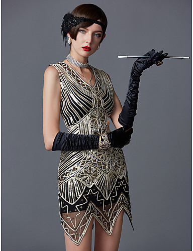cheap Historical & Vintage Costumes-The Great Gatsby Charleston 1920s Roaring Twenties Flapper Dress Women's Sequins Costume Black with White Vintage Cosplay Party Prom Sleeveless Above Knee