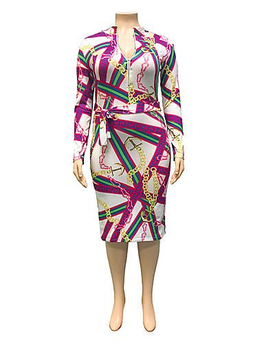 voordelige Grote maten jurken-Dames Street chic Punk & Gothic Bodycon Schede Jurk - Geometrisch, Patchwork Print Tot de knie