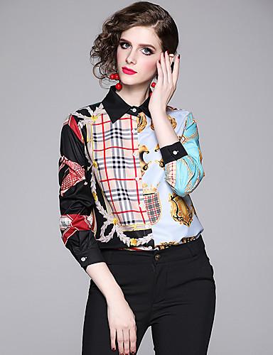 billige Skjorter til damer-Skjorte Dame - Geometrisk, Lapper / Trykt mønster Elegant Grå