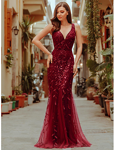 cheap Evening Dresses-Mermaid / Trumpet Sexy Sparkle Prom Formal Evening Dress V Neck Sleeveless Floor Length Tulle Sequined with Sequin Appliques 2020