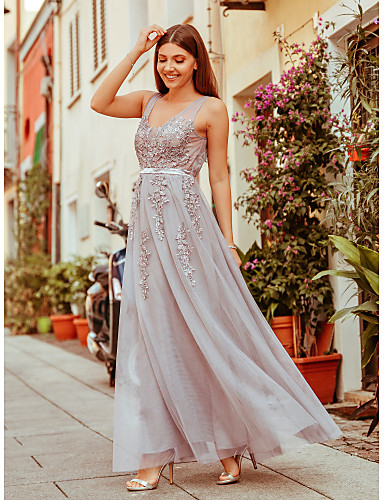 cheap Prom Dresses-A-Line Elegant See Through Prom Dress V Neck Sleeveless Floor Length Spandex Tulle Beaded Lace with Sash / Ribbon Beading Tier 2020