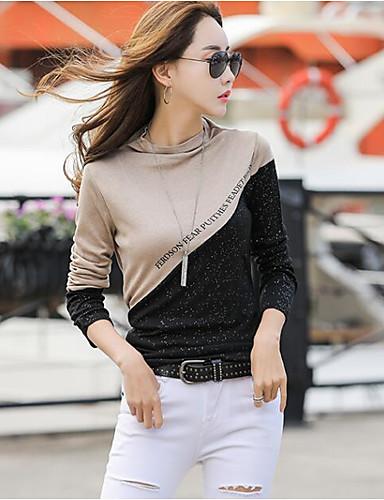 billige Dametopper-T-skjorte Dame - Fargeblokk, Lapper Grunnleggende Svart og Grå Mørkegrå