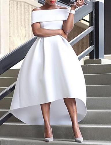 Linha A Ombro a Ombro Assimétrico Cetim Minimalista Evento Formal Vestido 2020 com