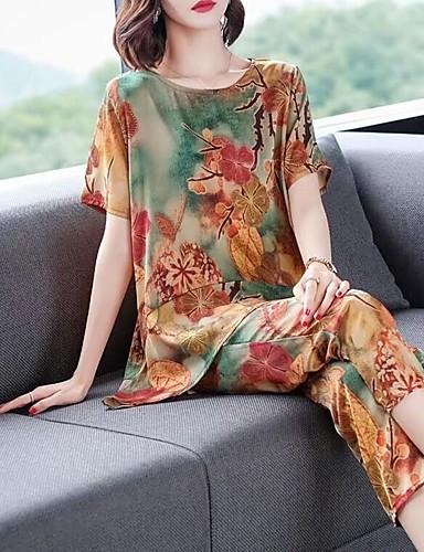 preiswerte Damen zweiteilige Anzüge-Damen Retro / Chinoiserie Set - Blumen / Geometrisch / Regenbogen, Druck Hose