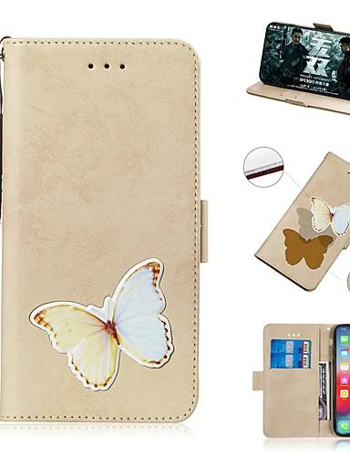 estojo para apple iphone xs / iphone xr / iphone xs max carteira / titular do cartão / à prova de choque casos de corpo inteiro borboleta pu couro para iphone 8 plus / iphone 7 plus / iphone 6s plus /