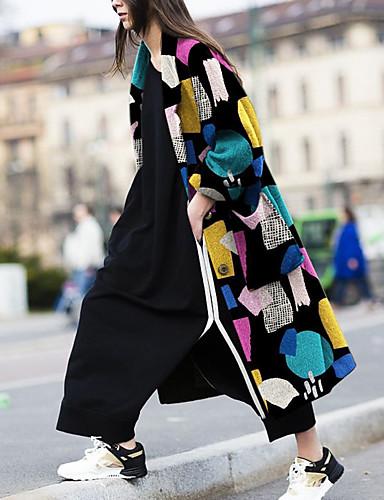 voordelige Damesjassen & trenchcoats-Dames Dagelijks Lang Jas, Kleurenblok Ingesneden revers Lange mouw Polyester Regenboog
