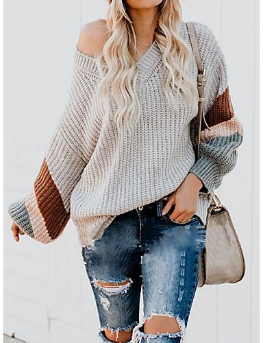 [$25.99] Women's Color Block Long Sleeve Pullover, V Neck Black Blushing Pink Blue S M L