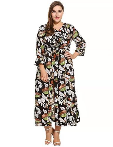 voordelige Grote maten jurken-Dames Boho Verfijnd Recht Abaya Kaftan Jurk - Bloemen, Print Maxi