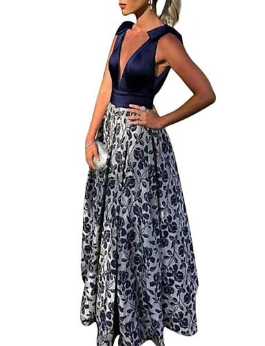 levne Šaty pro slavnostní příležitosti-A-Linie Hluboký výstřih Na zem Polyester Maturitní ples Šaty s podle LAN TING Express