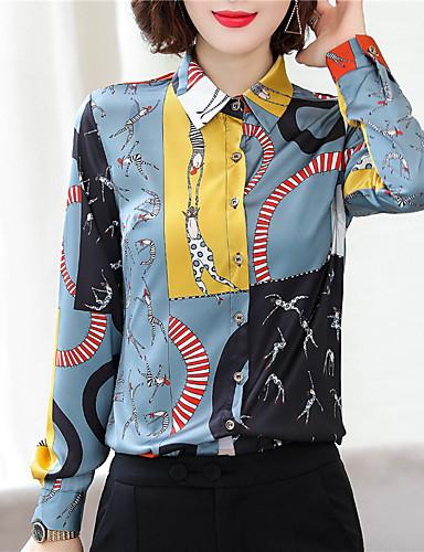 billige Topper til damer-Skjorte Dame - Fargeblokk, Trykt mønster Chinoiserie Regnbue