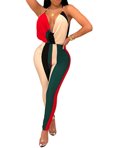 olcso Női blúzok és tunikák-Női Alap Arcpír rózsaszín Sárga Rubin Jumpsuitek, Színes Nyitott hátú S M L