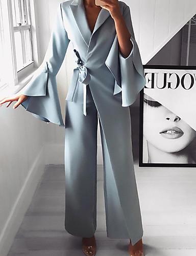 זול סרבלים ואוברולים לנשים-M L XL אחיד, סרבלים רגל רחבה כחול בהיר בסיסי בגדי ריקוד נשים