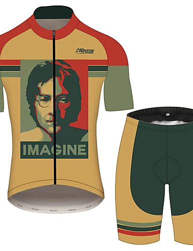 povoljno Odjeća za vožnju biciklom-21Grams John Lennon Muškarci Kratkih rukava Biciklistička majica s kratkim hlačama - Crna / Orange Bicikl Sportska odijela Prozračnost Ovlaživanje Quick dry Sportski 100% poliester Brdski biciklizam