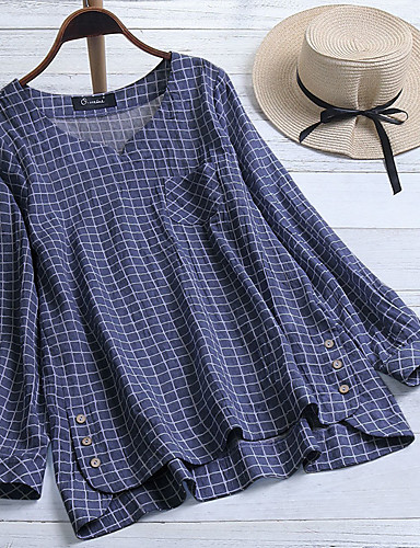 billige T-skjorter til damer-T-skjorte Dame - Ruter, Utskjæring Elegant Blå Blå