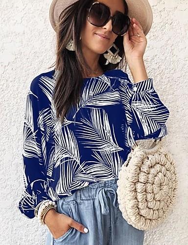 billige Dametopper-Skjorte Dame - Blomstret, Trykt mønster Grunnleggende Tropisk blad Svart