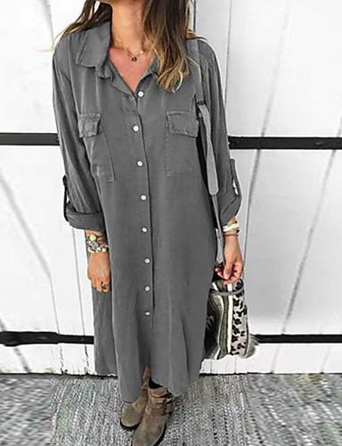 billige Skjorter til damer-Skjorte Dame - Ensfarget Grunnleggende Blå