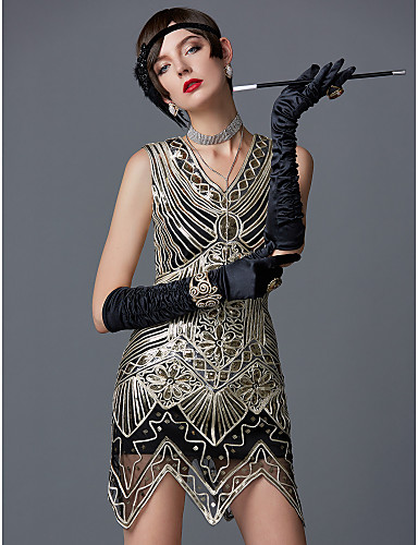cheap Historical & Vintage Costumes-The Great Gatsby Charleston Vintage 1920s Roaring 20s Flapper Dress Cocktail Dress Women's Sequins Sequin Costume Golden Vintage Cosplay Party Homecoming Prom Sleeveless Knee Length