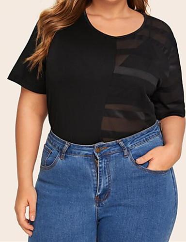 billige Dametopper-T-skjorte Dame - Stripet, Netting Grunnleggende / Gatemote Svart