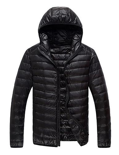 levne Pánské kabáty a parky-Pánské Jednobarevné Dlouhý kabát, Polyester Černá / Fialová / Armádní zelená US34 / UK34 / EU42 / US36 / UK36 / EU44 / US38 / UK38 / EU46