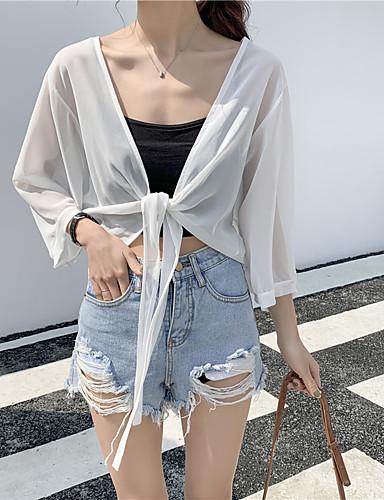 Mulheres Blusa Básico Sólido / Letra Preto