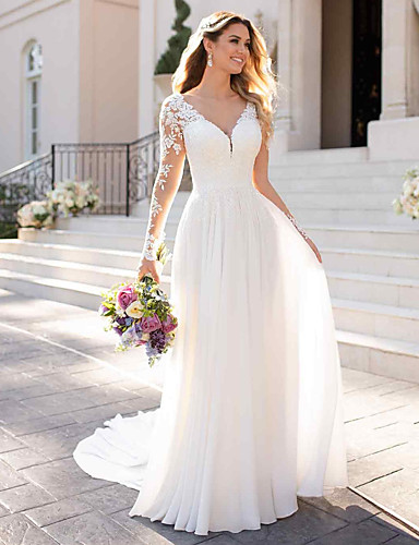 cheap Wedding Dresses-A-Line V Neck Chapel Train Chiffon / Satin Long Sleeve Romantic Illusion Sleeve Wedding Dresses with Buttons / Appliques 2020