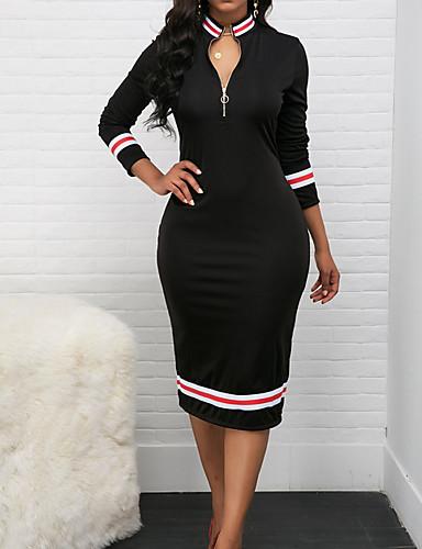 Жен. Классический Облегающий силуэт Платье - Полоски Средней длины