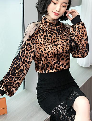 billige Dametopper-Skjorte Dame - Leopard, Blonde Elegant Gull