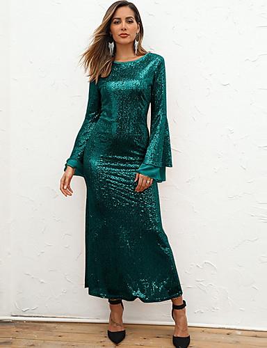 Жен. Элегантный стиль Оболочка Платье - Однотонный, Пайетки Макси