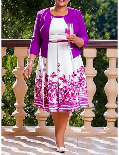 voordelige Grote maten jurken-Dames Street chic Elegant A-lijn Jurk - Bloemen Geometrisch, Geplooid Print Tot de knie roze